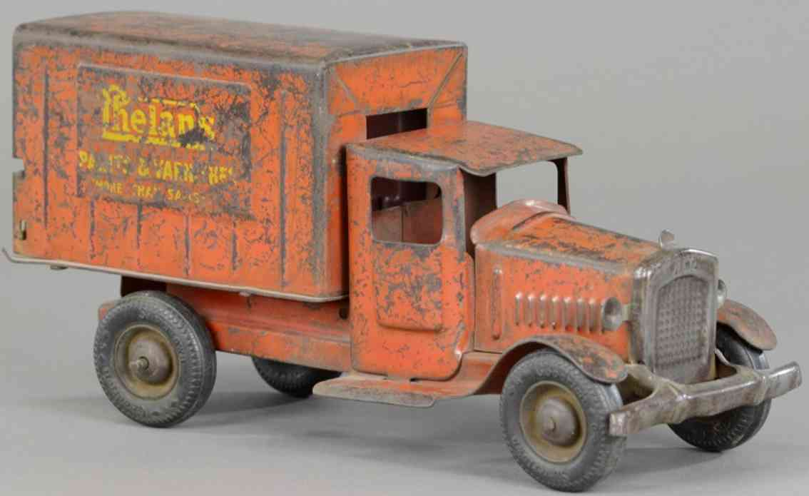 metalcraft corp st louis Phelans 11,5 blech spielzeug lastwagen seltner lieferwagen aus stahlblech, bemalt in rot mit gelber