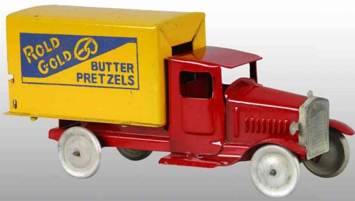 metalcraft corp st louis pressed steel toy rold gold butter pretzel truck red yellow