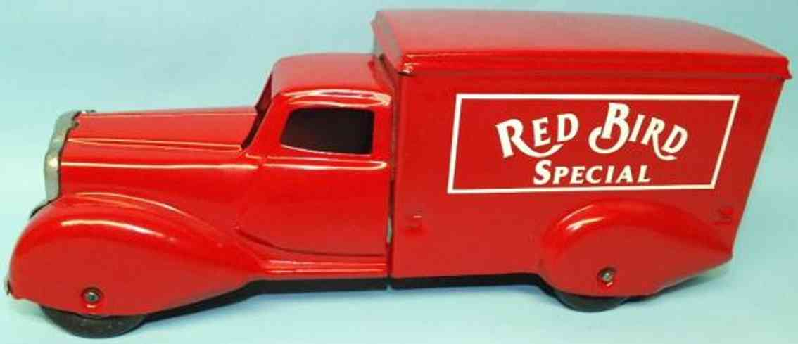 metalcraft corp st louis pressed steel toy truck delivery truck red bird special