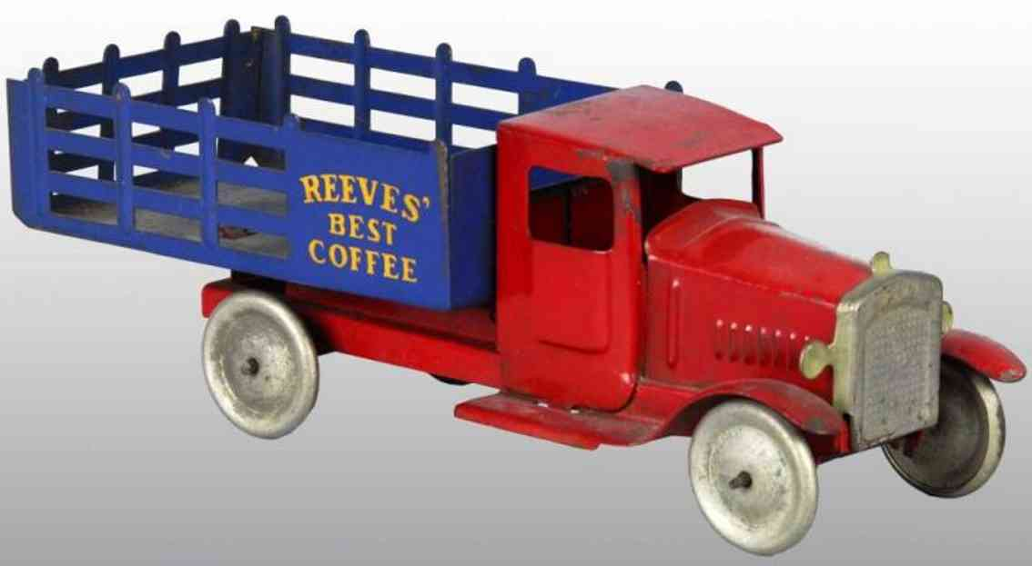 metalcraft corp st louis tin toy stake truck red blau reeves best coffee