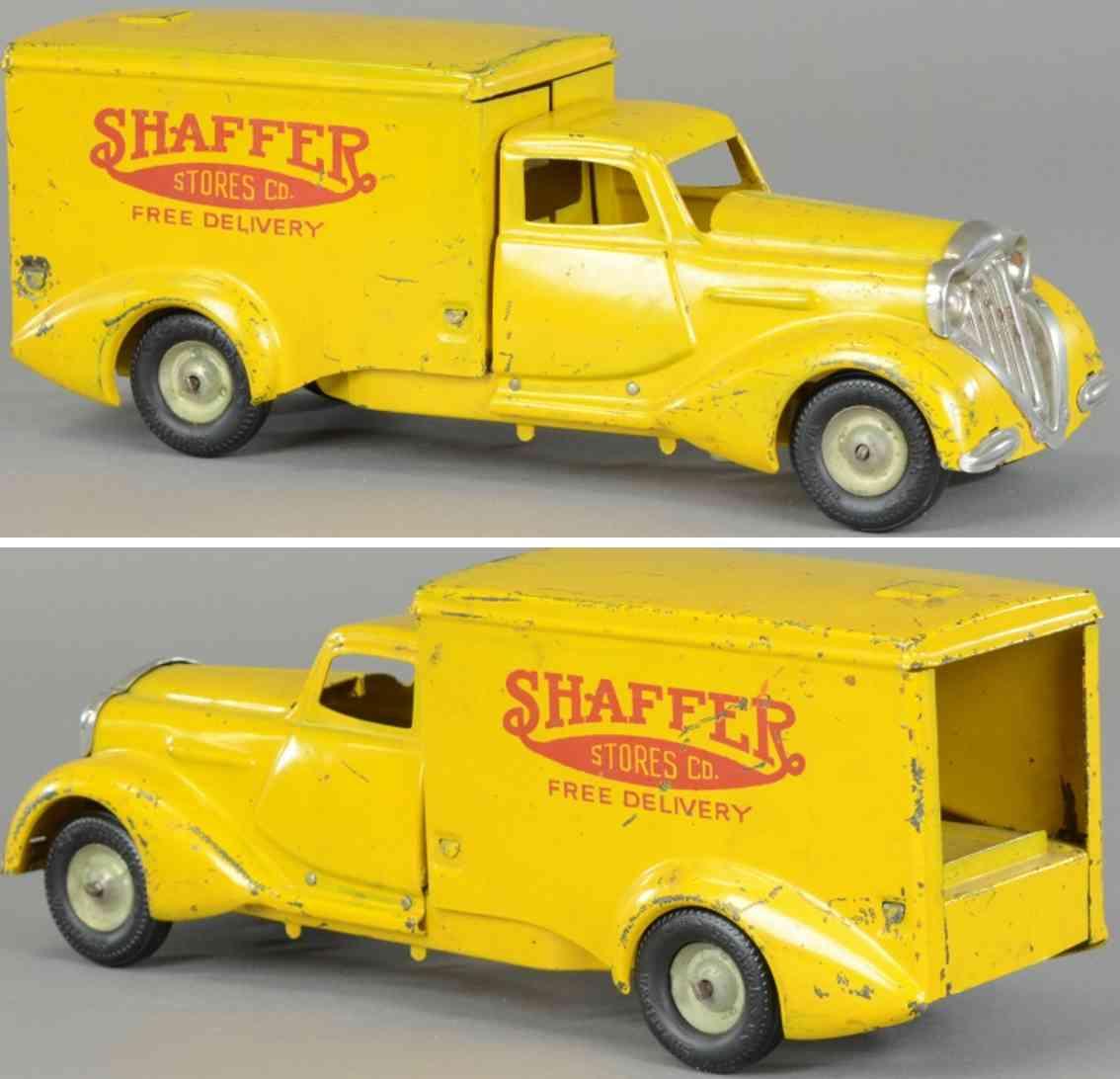 metalcraft corp st louis Shaffer 13 blech spielzeug lastwagen lieferwagen aus stahlblech, bemalt in gelb, fahrerhaus im de