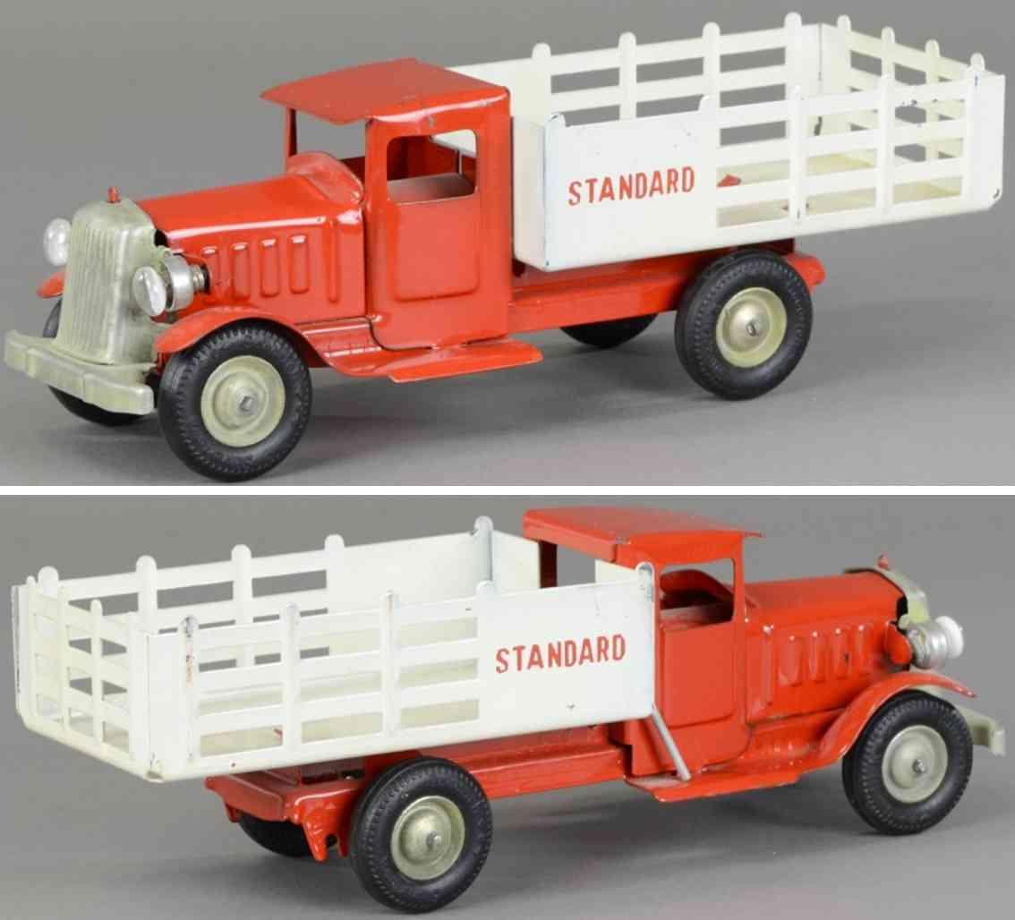 metalcraft corp st louis spielzeug lastwagen stahlblech standard oil rot weiss