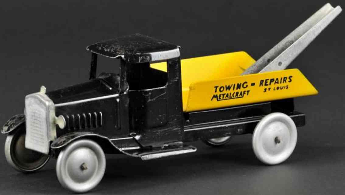 metalcraft corp st louis stahlblech spielzeug abschleppwagen shcwarz gelb