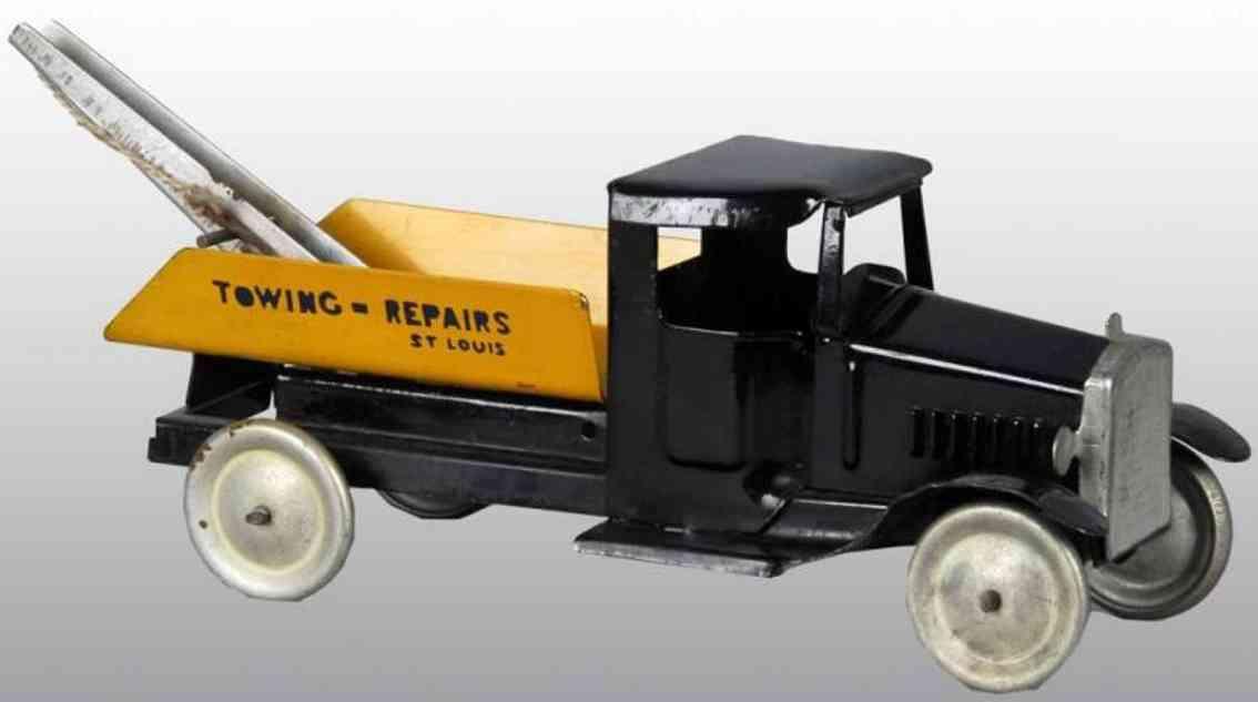 metalcraft corp st louis blech spielzeug abschleppwagen schwarz gelb