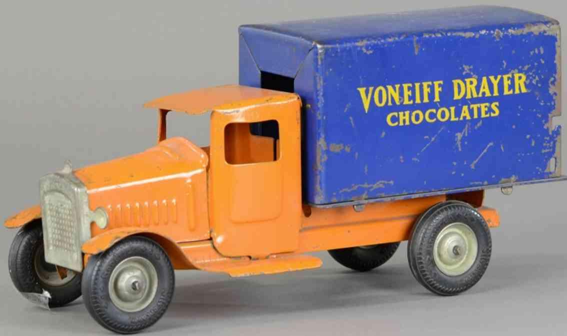 metalcraft corp st louis spielzeug lieferwagen stahlblechorange blau voneiff drayer chocolates