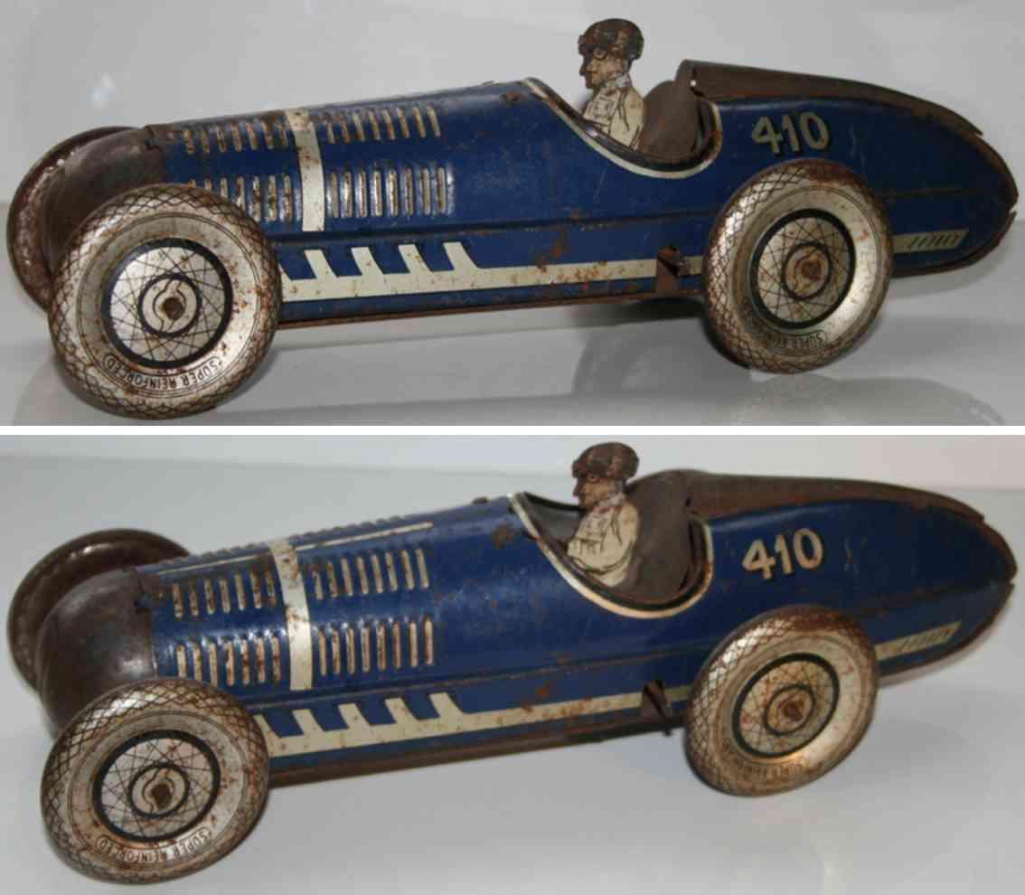 mettoy 410 blech spielzeug rennauto rennwagen in blau mit fahrer