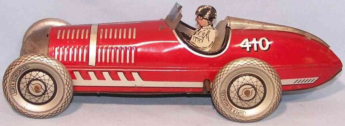 mettoy 410 tin toy race car in red with driver