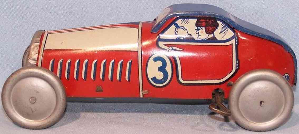 mettoy 808 tin toy race racing car 3 red blue silver white spring mechanism