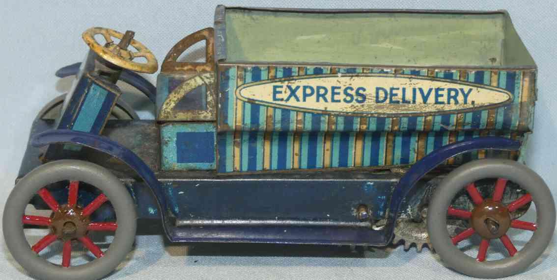 mettoy blech spielzeug express lieferwagen mit spiralfederwerk blau