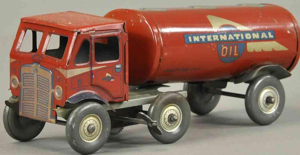 mettoy blech spielzeug lastwagen internationaler tankwagen rot uhrwerk