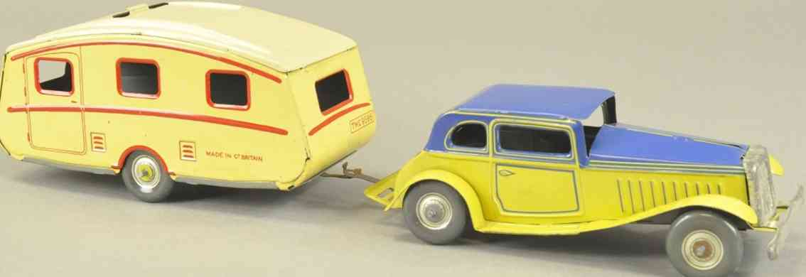 mettoy tin toy car coupe and trailer blue yellow clockwork