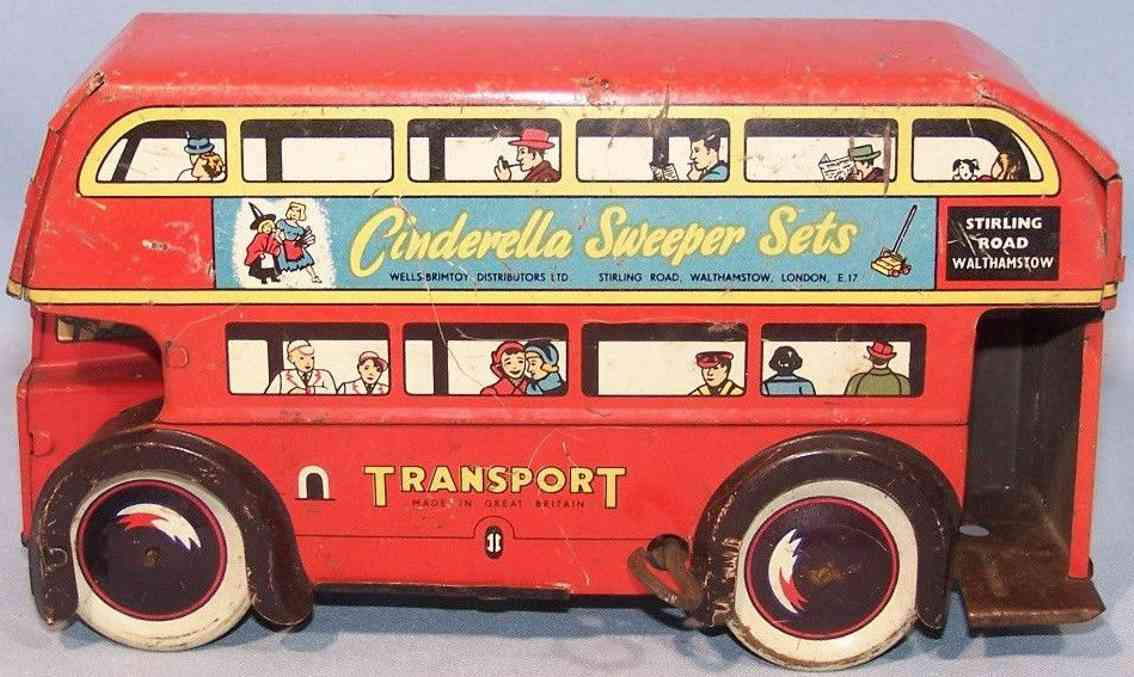 mettoy aww 130 tin toy double decker bus with clockwork red