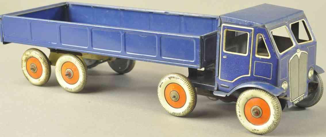 mettoy blech spielzeug lastwagen mit offenem bett blau uhrwerk