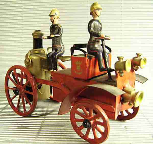 mignot cbg 2181 1 tin toy fire department steam car 2 firemen