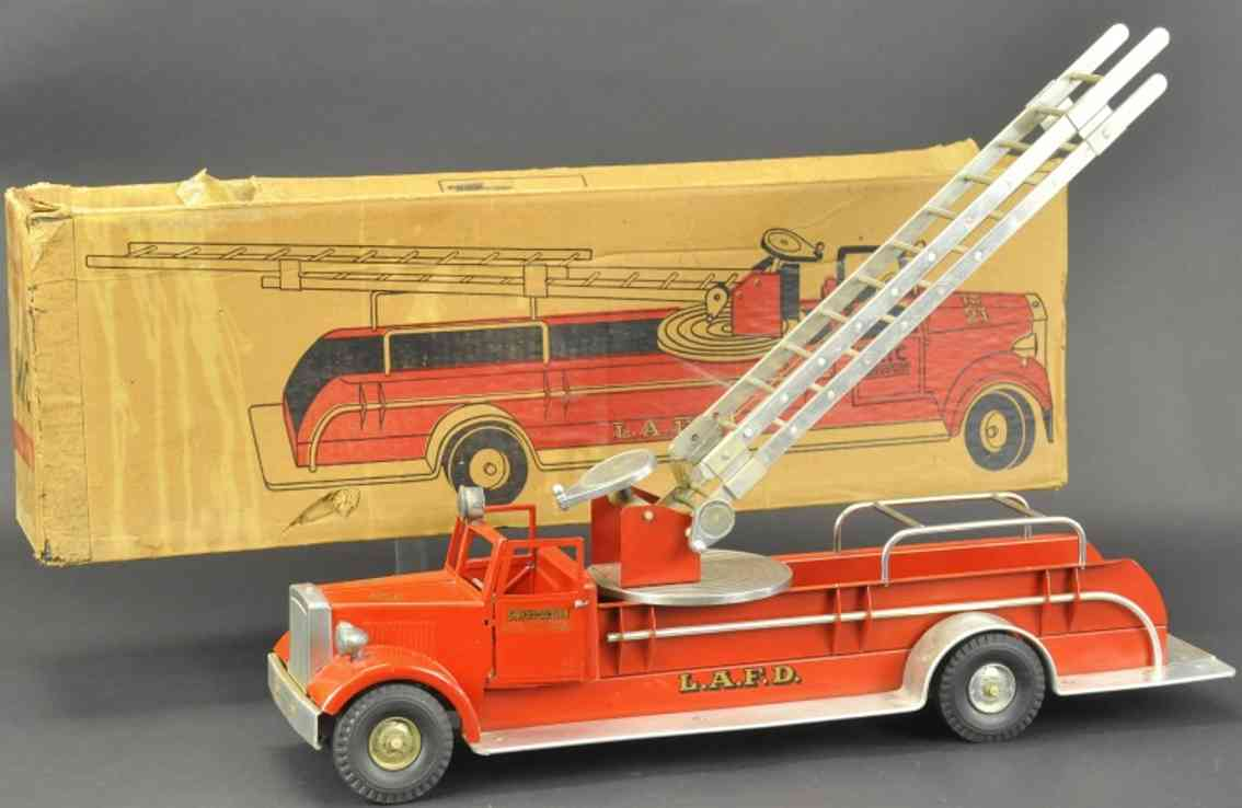 miller ironson corp 537 tin toy los angeles fire department aerial ladder truck
