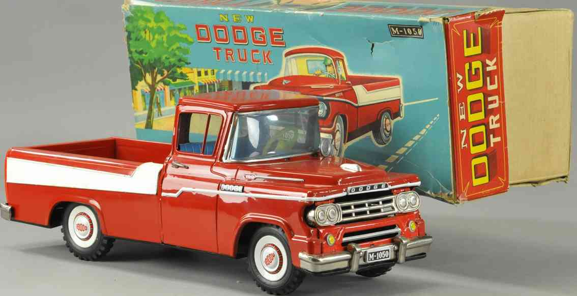 mitsuhashi m-1050 tin toy dodge pickup truck friction drive red white