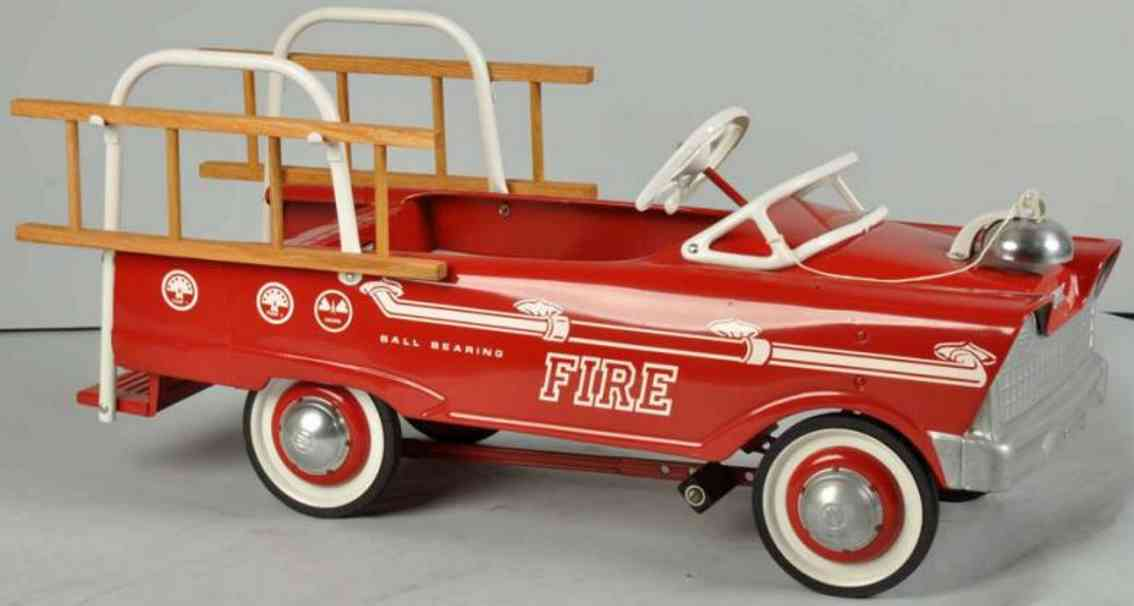 murray pressed stee toy fire ladder pedal truck deluxe red