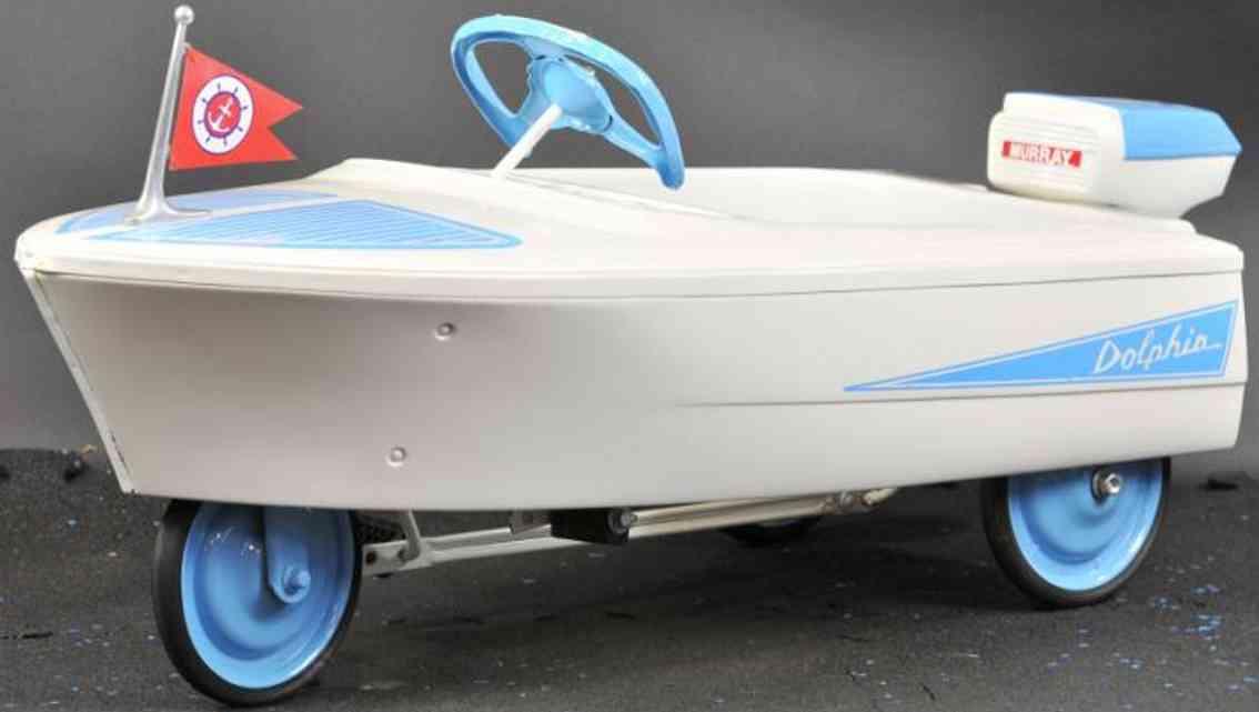 murray stahlblech spielzeug schnellboot tretauto weiss blau