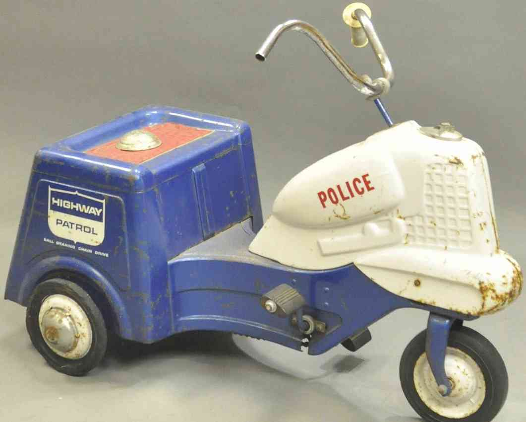 murray pressed steel toy police pedal cycle toy blue white highway patrol
