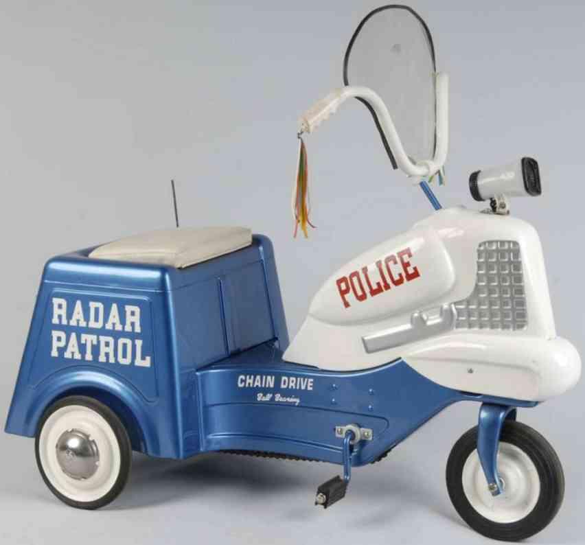 murray stahlblech spielzeug polizeimotorrad zum treten blau weiß