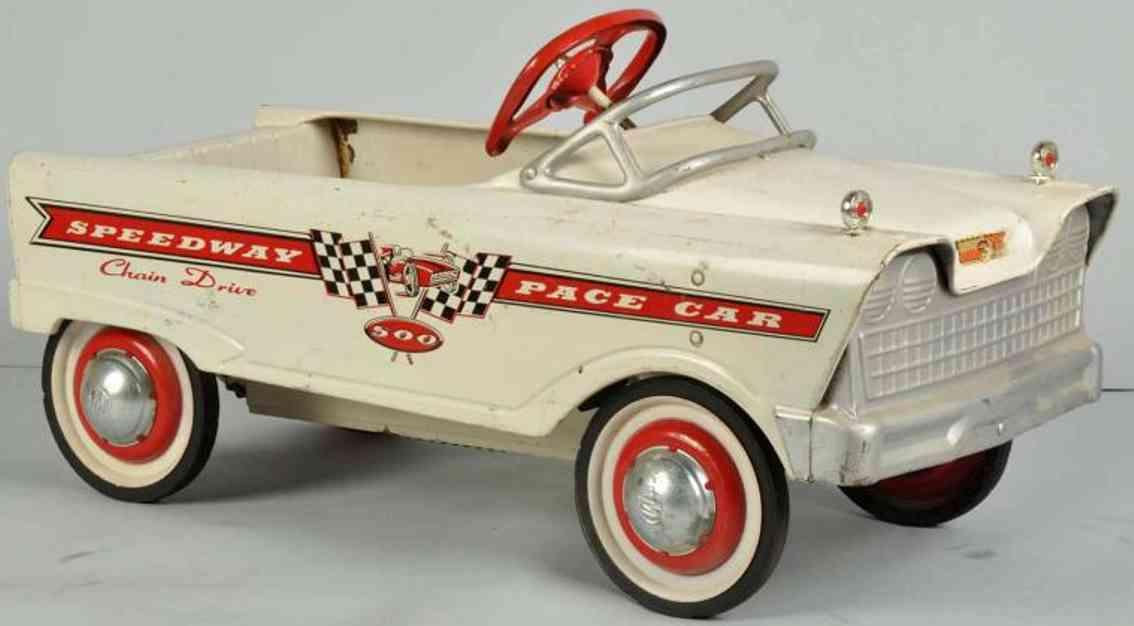 Murray Tretauto aus Stahlblech in weiß SPEEDWAY PACE CAR 500