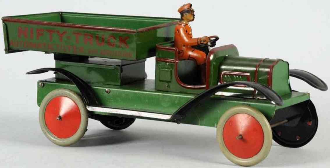 nifty manufacturing company tin dump truck green