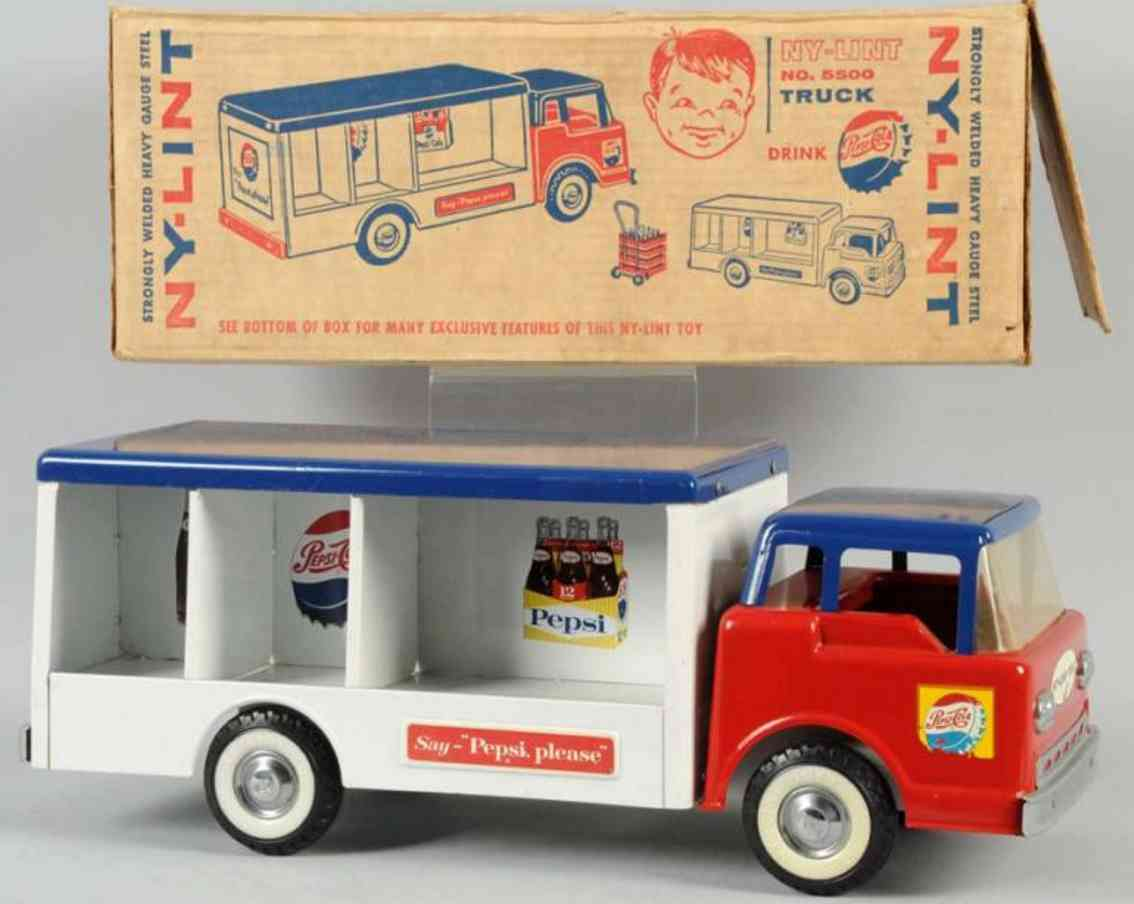 ny-lint co 5500 pressed steel toy pepsi-cola truck red white blue