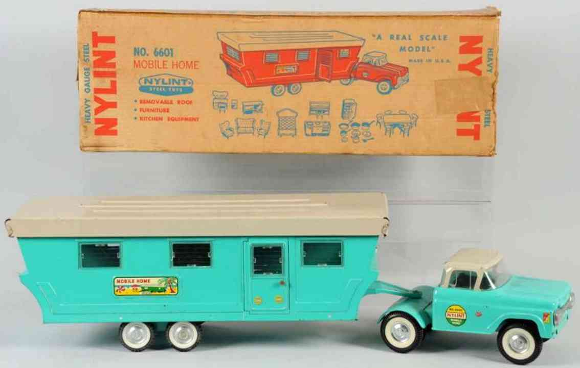 ny-lint co 6601 pressed steel toy ford mobile home tractor trailer