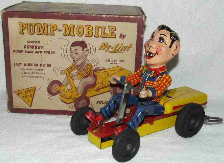 ny-lint co 1200 tin toy car doody pump mobile