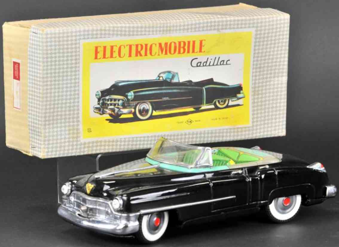 nomura toys tin toy car electric mobile cadillac convertible black