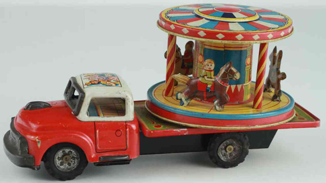 nomura toys Truck carousel blech spielzeug lastwagen lastwagen mit karussell und friktionsantrieb, lithografierte