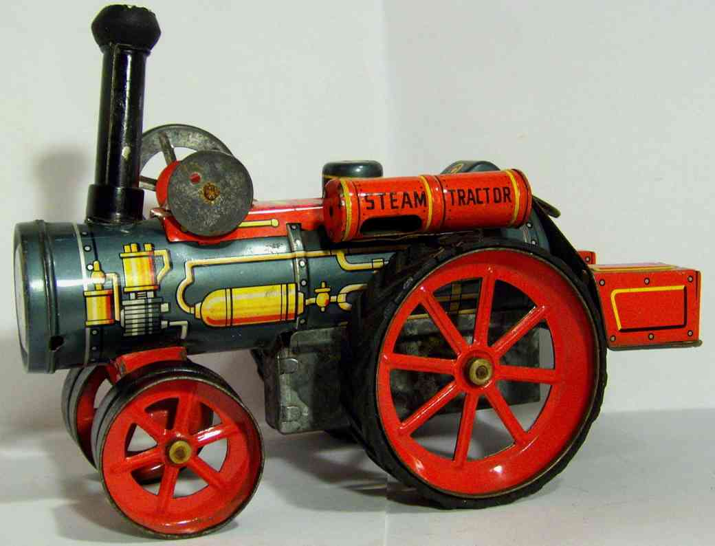 nomura toys tin toy steam tractor tin with friction dirve, with the t.n. (nomura
