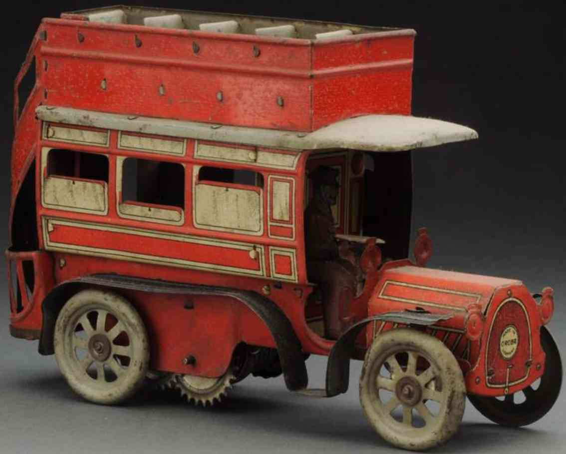 orobr tin double decker bus wind-up toy driver
