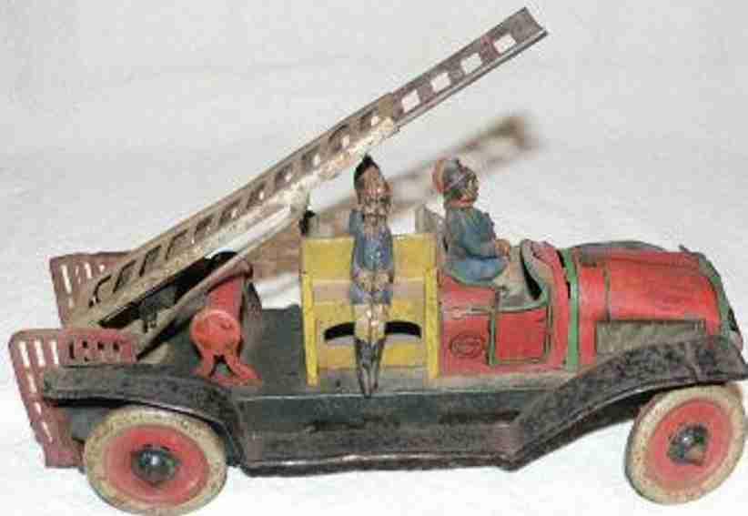 orobr tin toy fire ladder engine mechanical fire department clockwork