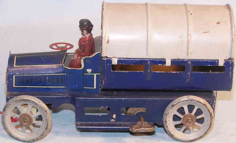 orobr 8 tin toy delivery truck blue clockwork driver canopy