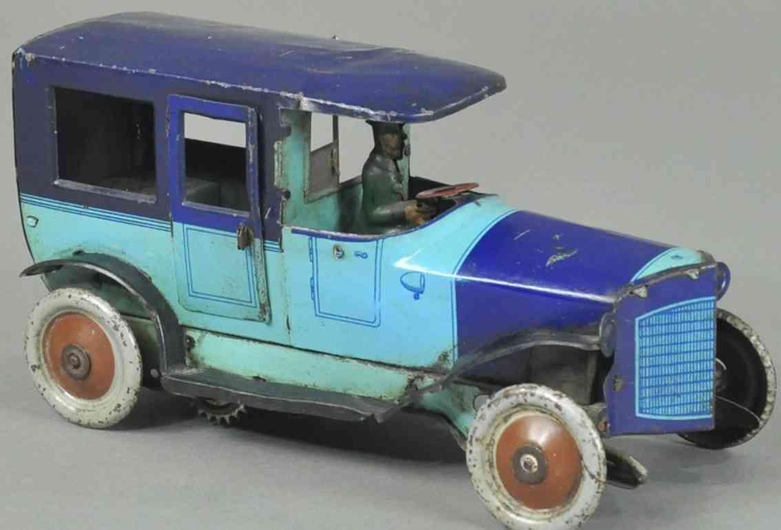 orobr blech spielzeug auto limousine blau chauffeur uhrwerk