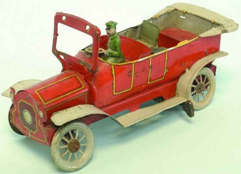 orobr blech spielzeug auto limousine lithografiert in rot mit graunen trittbrettern, fa