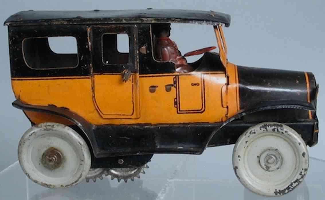 orobr blech spielzeug auto taxi in schwarz und gelb mit fahrer und uhrwerk