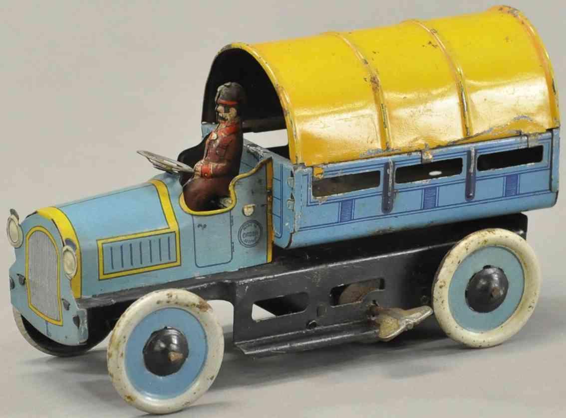 orobr blech spielzeug lieferwagen blau gelb uhrwerk