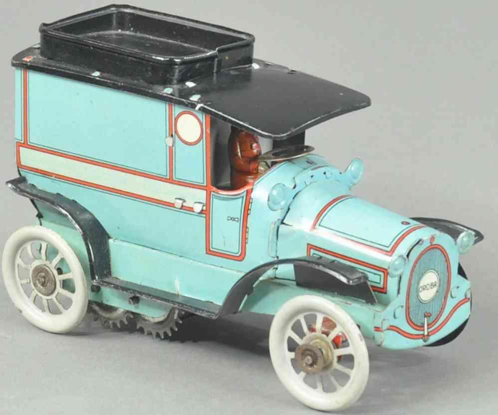 orobr blech spielzeug lieferwagen blau schwarz fahrer uhrwerk