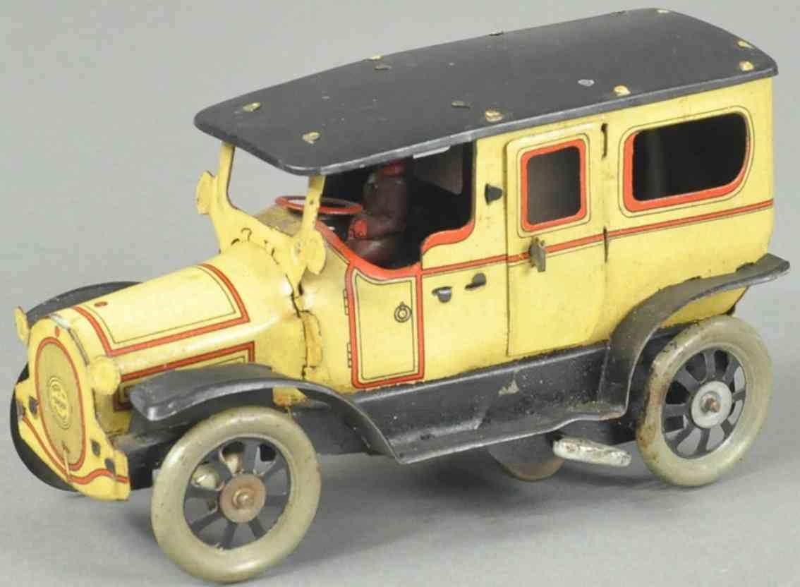 orobr blech spielzeug auto limousine  gelb rot schwarz fahrer uhrwerk