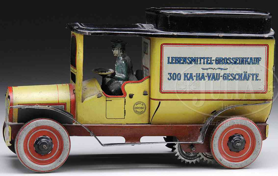 orobr blech spielzeug lastwagen lebensmittel-lieferwagen lithografiert hergestellt für den d