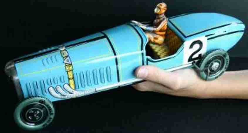 paya 914 tin toy race car bugatti race car blue spring mechanism 2