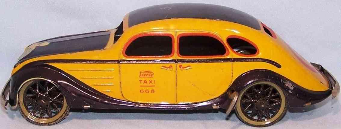 paya 668 tin toy car taxi schwarzblau gelb rot