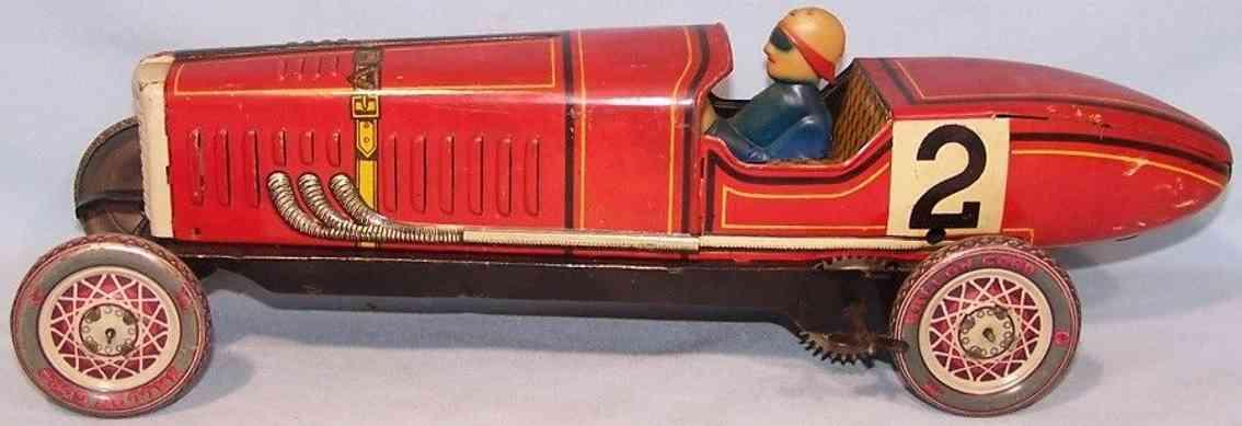 paya 923 tin toy race car race car red spring mechanism 2