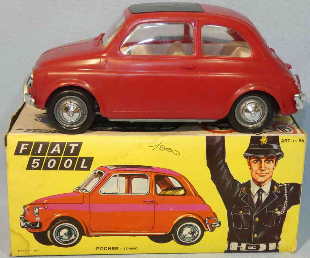 pocher 55 celluloid toy car fiat 500l #55 with flywheel drive  red