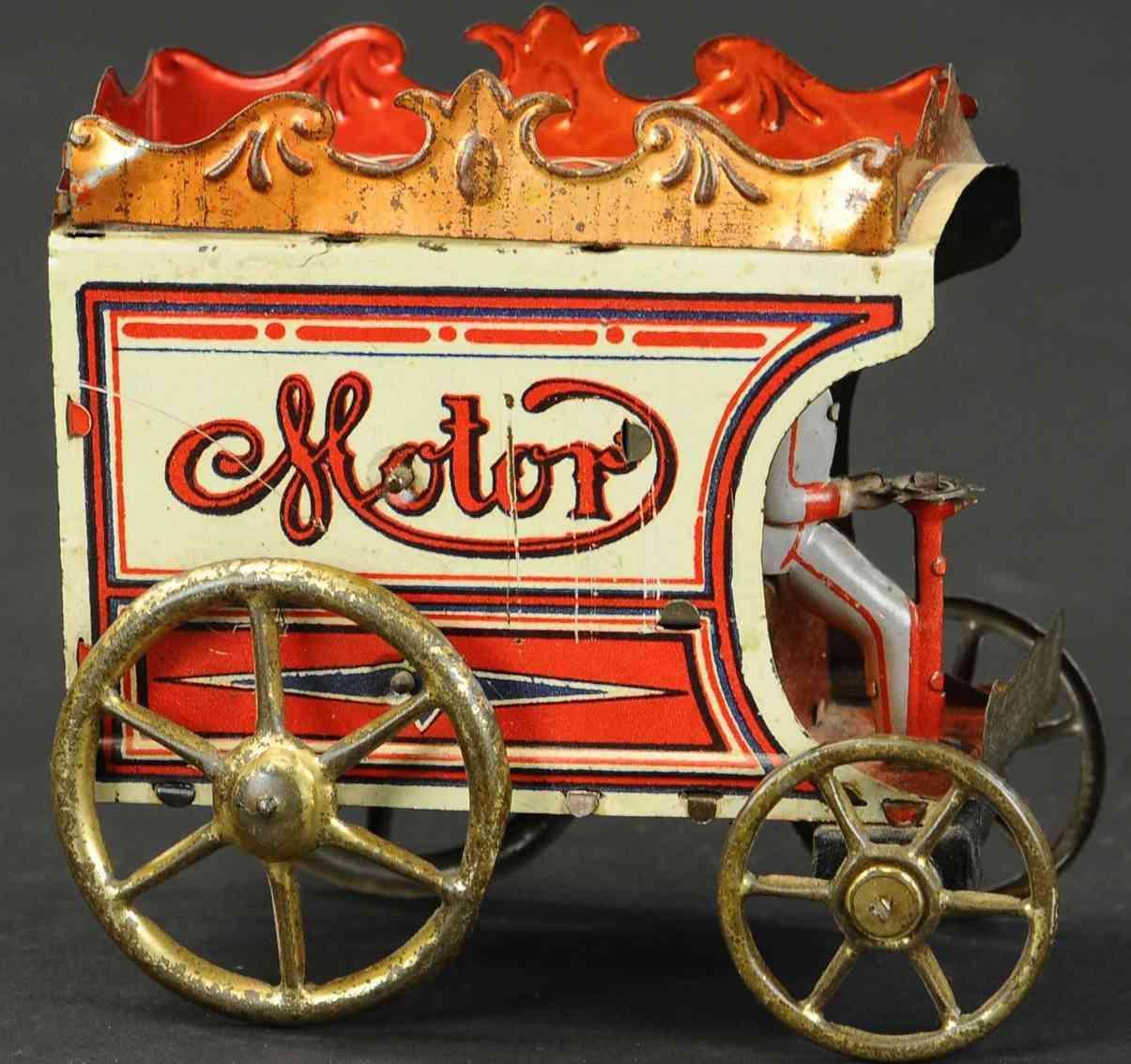 reil co issmayer orobr tin toy delivery van clockwork red white gold