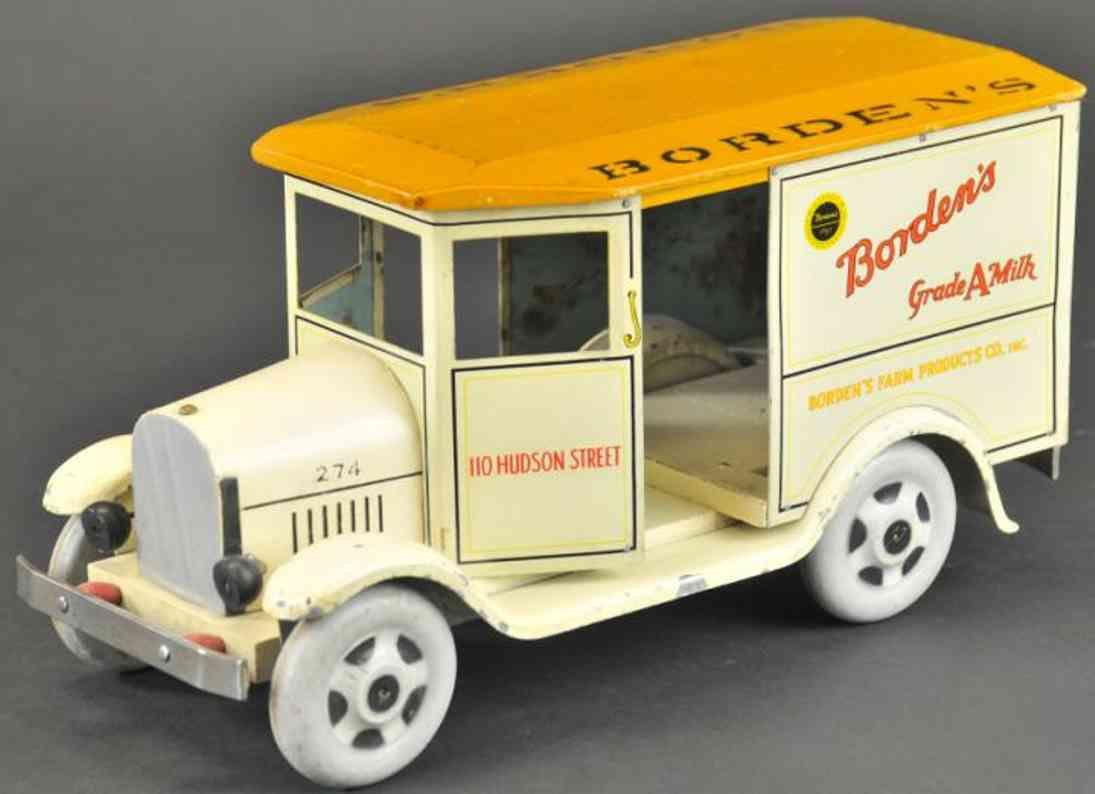 rich toys inc 274 blech holz  spielzeug lastwagen milchwagen