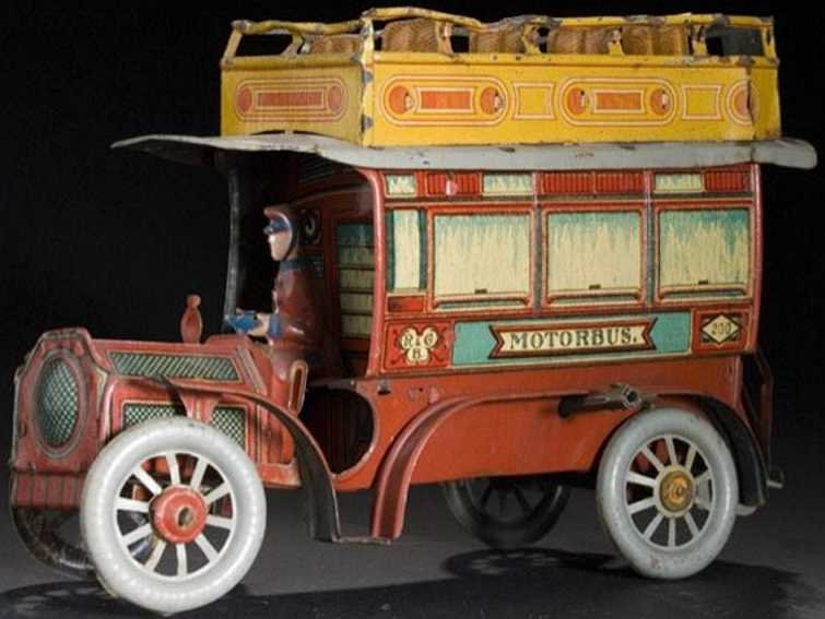 richter & co tin toy bus motorbus chromolithographed tin double decker bus, marked r.
