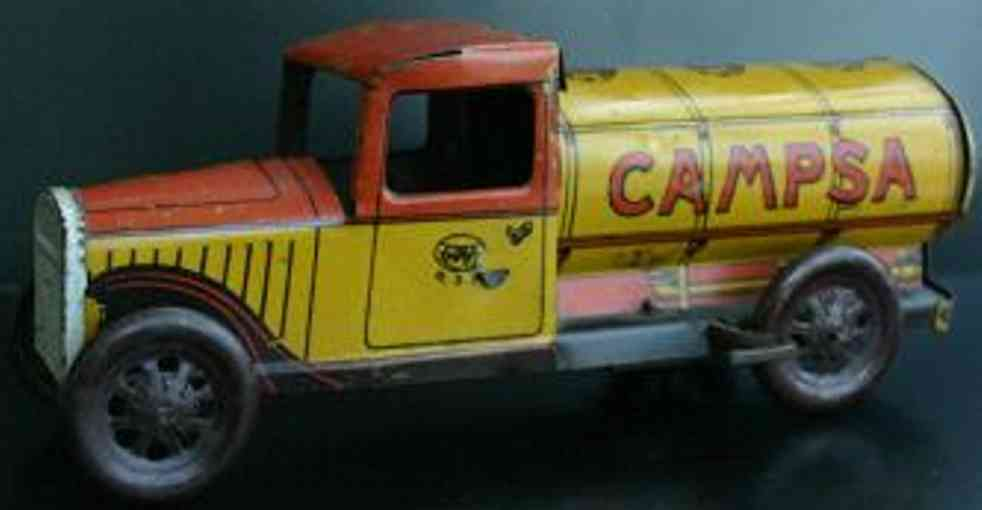 rico tin toy wind up gasoline tank truck camps